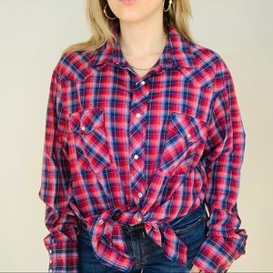 Wrangler Western Dad Red Plaid Button Down Shirt